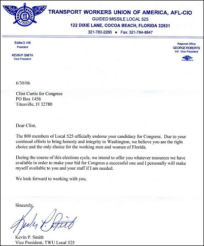 Example of Endorsement Letter Candidate http://www.bradblog.com/?p=3040