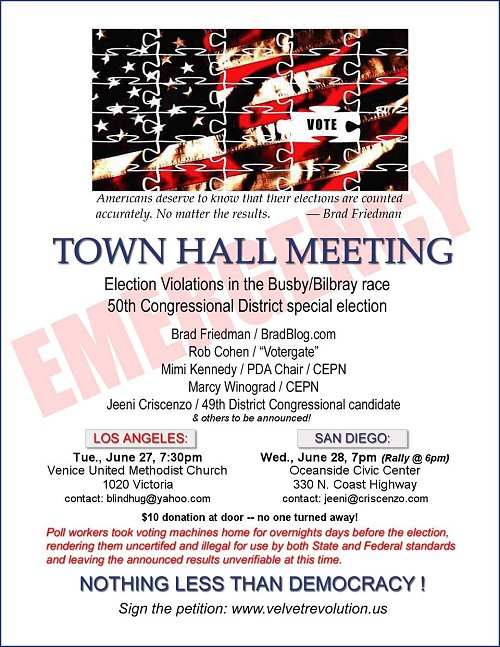 Busby/Bilbray Election: Emergency Townhall Meeting Flier